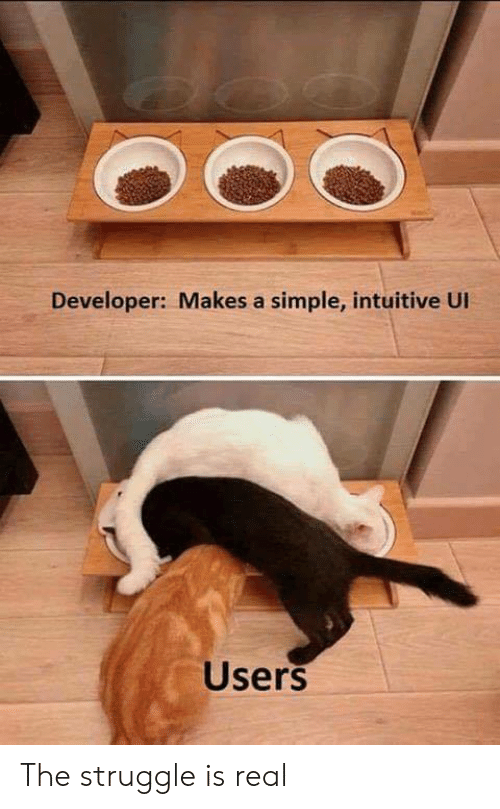 Struggle, The Struggle Is Real, and Simple: Developer: Makes a simple, intuitive UI  Users The struggle is real
