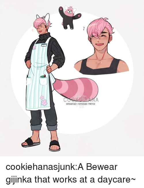 Tumblr, Twitch, and Blog: DEVIANTART TOYHOUSE TWITCH cookiehanasjunk:A Bewear gijinka that works at a daycare~