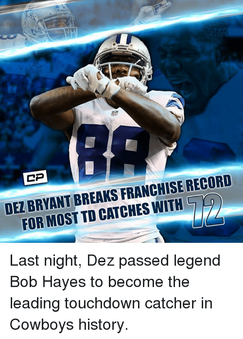 online retailer 00c46 8c59c DEZ BRYANT BREAKS FRANCHISE RECORD FOR MOST TD CATCHES WITIH ...