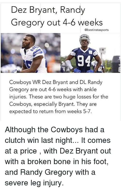 Dez Bryant Randy Gregory Out 4 6 Weeks Cowboys Wr Dez Bryant