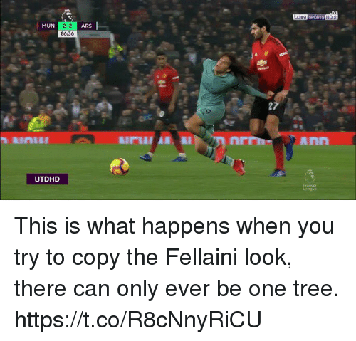 Soccer, Sports, and Tree: DGIN SPORTS HD 2  MUN  2-2  86:36  ARS  Ann  UTDHD This is what happens when you try to copy the Fellaini look, there can only ever be one tree. https://t.co/R8cNnyRiCU