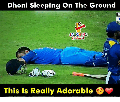 Sleeping, Indianpeoplefacebook, and Adorable: Dhoni Sleeping On The Ground  IV  LAUGHING  This Is Really Adorable