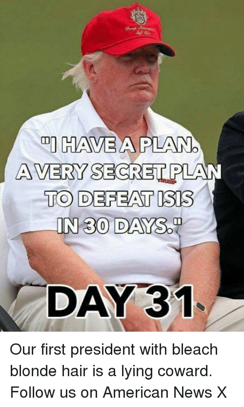 Memes, News, and American: DI HAVE  A PILANO  AVERY SECRET PLAN  TO DEFEAT ISIS  IN 30 DAY  SOD  DAY 31 Our first president with bleach blonde hair is a lying coward. Follow us on American News X