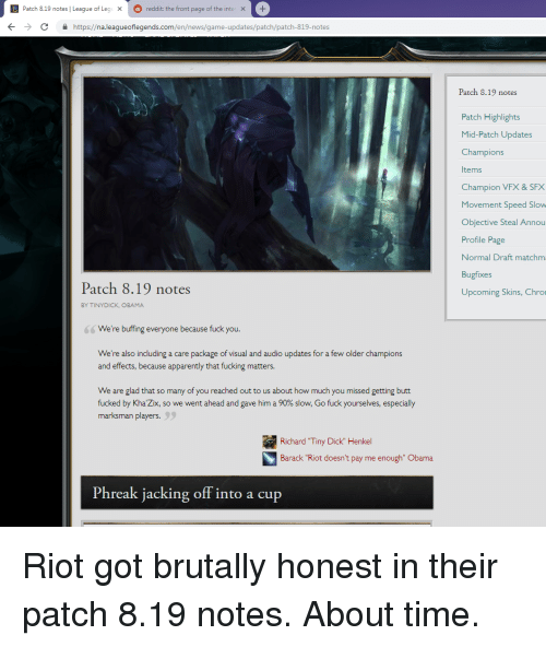 DI Patch 819 Notes | League of Leg Reddit the Front Page of