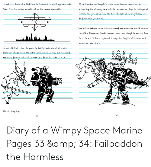 Space, Pages, and Space Marine: Diary of a Wimpy Space Marine Pages 33 & 34: Failbaddon the Harmless