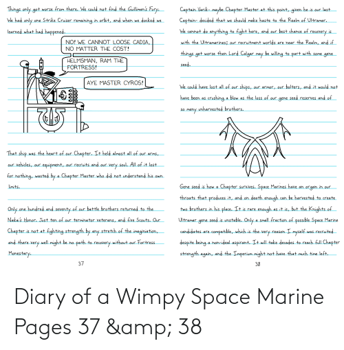 Space, Pages, and Space Marine: Diary of a Wimpy Space Marine Pages 37 & 38