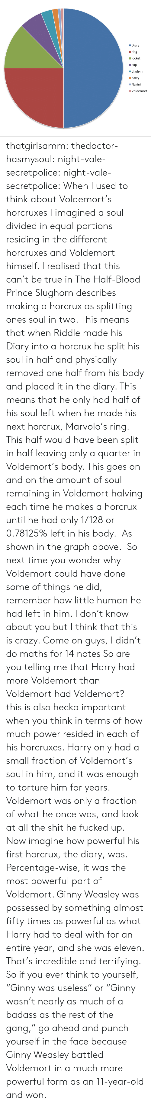 """Crazy, Prince, and Shit: Diary  ring  locket  cup  diadem  harry  Nagini  I Voldemort thatgirlsamm:  thedoctor-hasmysoul:  night-vale-secretpolice:  night-vale-secretpolice:  When I used to think about Voldemort's horcruxes I imagined a soul divided in equal portions residing in the different horcruxes and Voldemort himself. I realised that this can't be true in The Half-Blood Prince Slughorn describes making a horcrux as splitting ones soul in two. This means that when Riddle made his Diary into a horcrux he split his soul in half and physically removed one half from his body and placed it in the diary. This means that he only had half of his soul left when he made his next horcrux, Marvolo's ring. This half would have been split in half leaving only a quarter in Voldemort's body. This goes on and on the amount of soul remaining in Voldemort halving each time he makes a horcrux until he had only 1/128 or 0.78125% left in his body. As shown in the graph above. So next time you wonder why Voldemort could have done some of things he did, remember how little human he had left in him. I don't know about you but I think that this is crazy.  Come on guys, I didn't do maths for 14 notes  So are you telling me that Harry had more Voldemort than Voldemort had Voldemort?  this is also hecka important when you think in terms of how much power resided in each of his horcruxes. Harry only had a small fraction of Voldemort's soul in him, and it was enough to torture him for years. Voldemort was only a fraction of what he once was, and look at all the shit he fucked up. Now imagine how powerful his first horcrux, the diary, was. Percentage-wise, it was the most powerful part of Voldemort. Ginny Weasley was possessed by something almost fifty times as powerful as what Harry had to deal with for an entire year, and she was eleven. That's incredible and terrifying. So if you ever think to yourself, """"Ginny was useless"""" or """"Ginny wasn't nearly as much of a badass as the rest of the gan"""