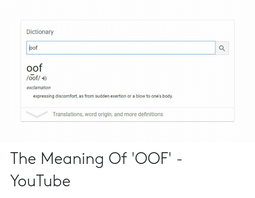 Dictionary Bof Oof Oof Exclamation Expressing Discomfort as