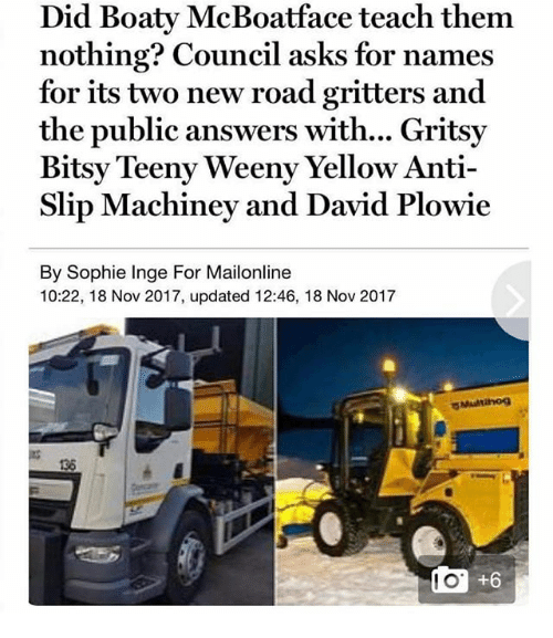 Ironic, Mailonline, and Anti: Did Boaty McBoatface teach them  nothing? Council asks for names  for its two new road gritters and  the public answers with... Gritsy  Bitsy Teeny Weeny Yellow Anti-  Slip Machiney and David Plowie  By Sophie Inge For Mailonline  10:22, 18 Nov 2017, updated 12:46, 18 Nov 2017  Multihog  136  +6