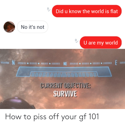 How To, World, and How: Did u know the world is flat  No it's not  U are my world  N.  1II NE IHI  CURRENT OBJECTIVE:  SURVIVE How to piss off your gf 101