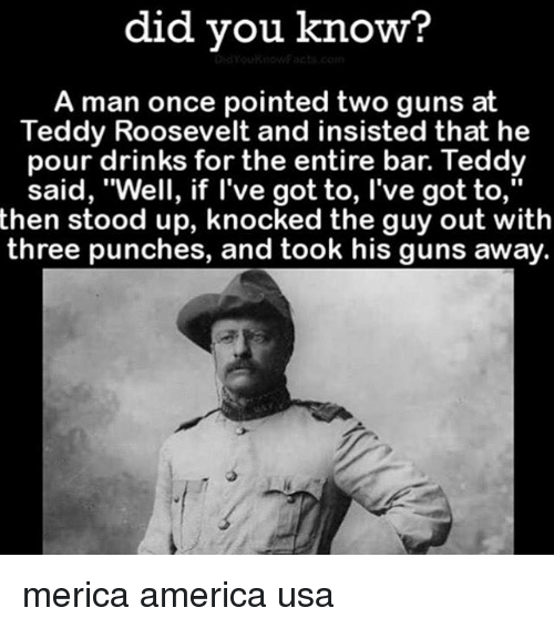 """America, Guns, and Memes: did vou know?  A man once pointed two guns at  Teddy Roosevelt and insisted that he  pour drinks for the entire bar. Teddy  said, """"Well, if l've got to, l've got to,""""  said, Well, if Tve got to, I've got to,  then stood up, knocked the guy out with  three punches, and took his guns away. merica america usa"""