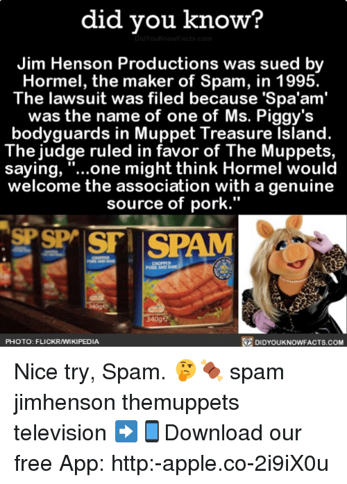 "Apple, Memes, and The Muppets: did vou know?  Jim Henson Productions was sued by  Hormel, the maker of Spam, in 1995.  The lawsuit was filed because 'Spa'am'  was the name of one of Ms. Piggy's  bodyguards in Muppet Treasure Island.  The judge ruled in favor of The Muppets,  saying, ""...one might think Hormel would  welcome the association with a genuine  source of pork.""  PORK AND  340ge  PHOTO: FLICKRAMIKIPEDIA  DIDYOUKNOWFACTS.coM Nice try, Spam. 🤔🍖 spam jimhenson themuppets television ➡📱Download our free App: http:-apple.co-2i9iX0u"