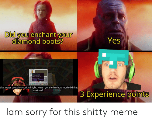 Meme, Sorry, and Boots: Did you enchant your  diamond boots?  Yes  Enchant  Dianond Boots  Protection III  Inve Depth 3trider III  Lihen on feet:  +2 Arnor Toughness  What water boots! ok cool, All right. Now, I got the link how much did that  cost me?  3 Experience points Iam sorry for this shitty meme