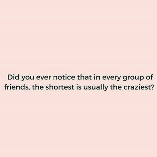 Dank, Friends, and 🤖: Did you ever notice that in every group of  friends, the shortest is usually the craziest?