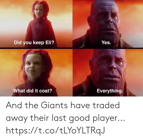 Nfl, Giants, and Good: Did you keep Eli?  What did it cost?  Everything. And the Giants have traded away their last good player... https://t.co/tLYoYLTRqJ