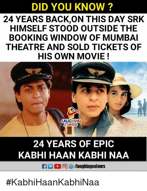 DID YOU KNOW? 24 YEARS BACKON THIS DAY SRK HIMSELF STOOD