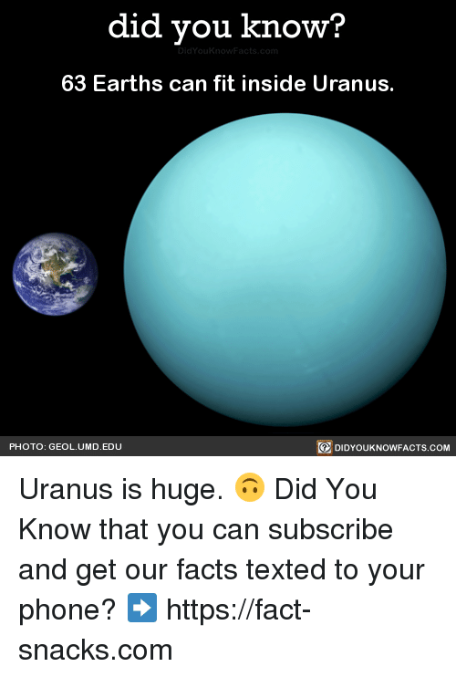 Dank, Facts, and Phone: did you know?  63 Earths can fit inside Uranus.  PHOTO: GEOL. UMD. EDU  DIDYOUKNOWFACTS.COM Uranus is huge. 🙃  Did You Know that you can subscribe and get our facts texted to your phone? ➡ https://fact-snacks.com