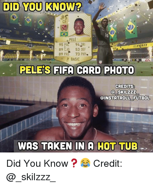 Fifa, Memes, and Taken: DID YOU KNOW?  95  CE  PELE  FIFA17  89 S0 53 DEF  89 PAS 73 PHY  BASIC  PELE'S FIFA CARD PHOTO  CREDITS:  SKILZZ  INSTATROLL FUTBOL  WAS TAKEN IN A HOT  TUB Did You Know❓😂 Credit: @_skilzzz_