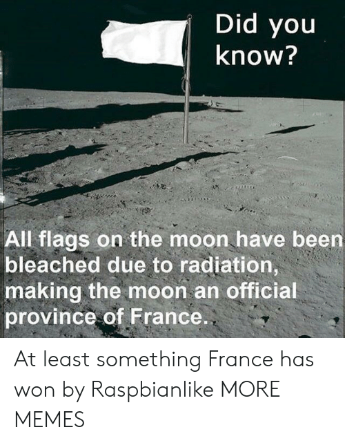 Dank, Memes, and Target: Did you  Know?  All flags on the moon have been  bleached due to radiation,  making the moon an officia  province of France At least something France has won by Raspbianlike MORE MEMES