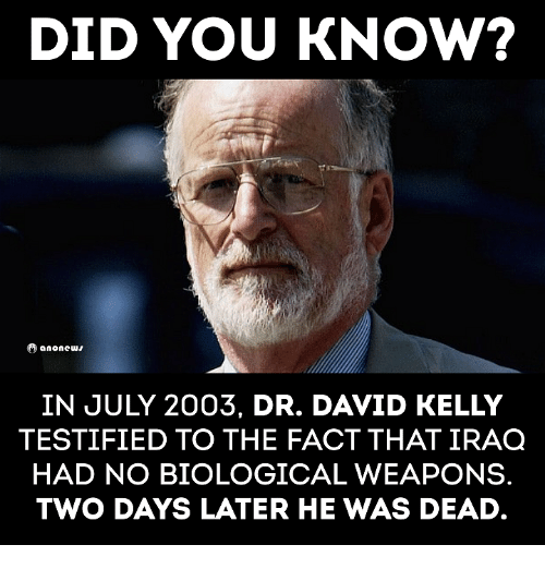 Memes, 🤖, and July: DID YOU KNOW?  anonews  IN JULY 2003, DR. DAVID KELLY  TESTIFIED TO THE FACT THAT IRAQ  HAD NO BIOLOGICAL WEAPONS  TWO DAYS LATER HE WAS DEAD.