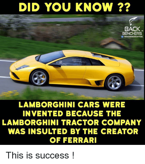 Did You Know Back Benchers Of Theback Lamborghini Cars Were Invented