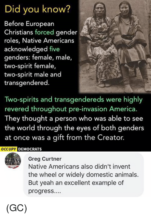 America, Animals, and Memes: Did you know?  Before European  Christians forced gender  roles, Native Americans  acknowledged five  genders: female, male,  two-spirit female  two-spirit male and  transgendered.  Two-spirits and transgendereds were highly  revered throughout pre-invasion America.  They thought a person who was able to see  the world through the eyes of both genders  at once was a gift from the Creator.  Y DEMOCRATS  Greg Curtner  Native Americans also didn't invent  the wheel or widely domestic animals.  But yeah an excellent example of  progress.... (GC)