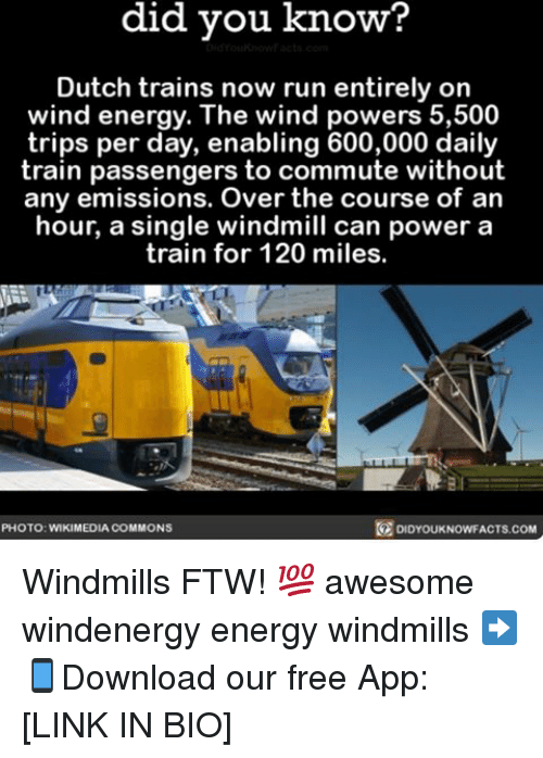 Energy, Ftw, and Memes: did you know?  Dutch trains now run entirely on  wind energy. The wind powers 5,500  trips per day, enabling 600,000 daily  train passengers to commute without  any emissions. Over the course of an  hour, a single windmill can power a  train for 120 miles.  PHOTO: WIKIMEDIA COMMONS  KNOWFACTS.COM Windmills FTW! 💯 awesome windenergy energy windmills ➡📱Download our free App: [LINK IN BIO]