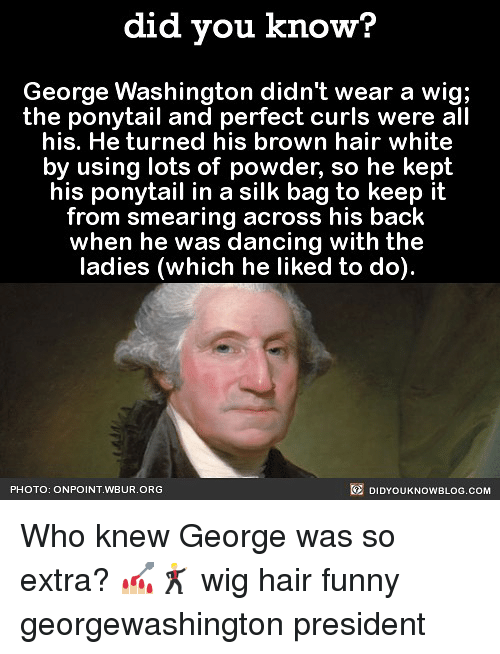 Dancing, Funny, and Memes: did you know?  George Washington didn't wear a wig;  the ponytail and perfect curls were all  his. He turned his brown hair white  by using lots of powder, so he kept  his ponytail in a silk bag to keep it  from smearing across his back  when he was dancing with the  ladies (which he liked to do).  PHOTO: ONPOINT WBUR.ORG  國DIDYOUKNOWBLOG.COM Who knew George was so extra? 💅🏼🕺🏼 wig hair funny georgewashington president