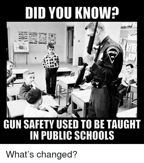 Memes, 🤖, and Gun: DID YOU KNOW?  GUN SAFETY USED TO BE TAUGHT  IN PUBLIC SCHOOLS What's changed?