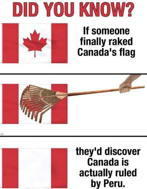 Canada, Discover, and Peru: DID YOU KNOW?  If someone  finally raked  Canada's flag  AR  they'd discover  Canada is  actually ruled  by Peru.