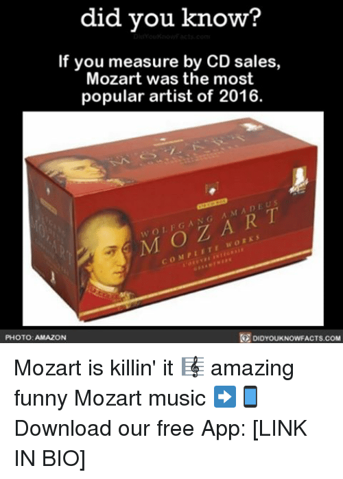 Did You Know? If You Measure by CD Sales Mozart Was the Most