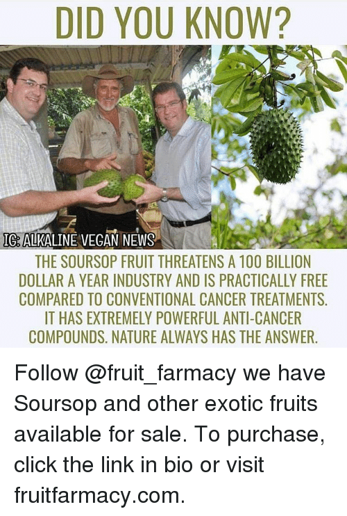 DID YOU KNOW? IG ALKALINE VEGAN NEWS THE SOURSOP FRUIT THREATENS a
