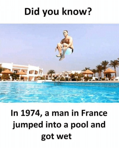 Memes, France, and Pool: Did you know?  In 1974, a man in France  jumped into a pool and  got wet