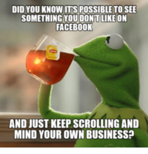 Scrolls, You Know It, and Mind Your Own Business: DID YOU KNOW ITS POSSIBLE TO SEE  SOMETHING YOU DONT LIKE ON  FACEBOOK  AND JUST KEEP SCROLLING AND  MIND YOUR OWN BUSINESS?
