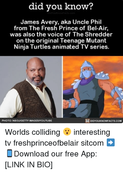 Fresh, James Avery, and Memes: did you know?  James Avery, aka Uncle Phil  from The Fresh Prince of Bel  was also the voice of The Shredder  on the original Teenage Mutant  Ninja Turtles animated TV series.  DIDYOUKNOWFACTs.coM  PHOTO: NBCU/GETTY IMAGESMYOUTUBE Worlds colliding 😮 interesting tv freshprinceofbelair sitcom ➡📱Download our free App: [LINK IN BIO]