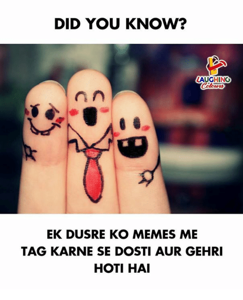 Memes, Indianpeoplefacebook, and Did: DID YOU KNOW?  LAUGHING  EK DUSRE KO MEMES ME  TAG KARNE SE DOSTI AUR GEHRI  HOTI HAI