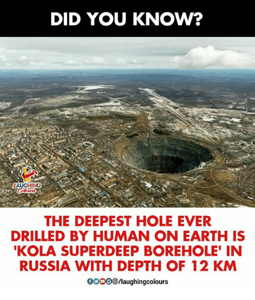 Earth, Russia, and Indianpeoplefacebook: DID YOU KNOW?  LAUGHING  THE DEEPEST HOLE EVER  DRILLED BY HUMAN ON EARTH IS  KOLA SUPERDEEP BOREHOLE' IN  RUSSIA WITH DEPTH OF 12 KM  000O@/laughingcol
