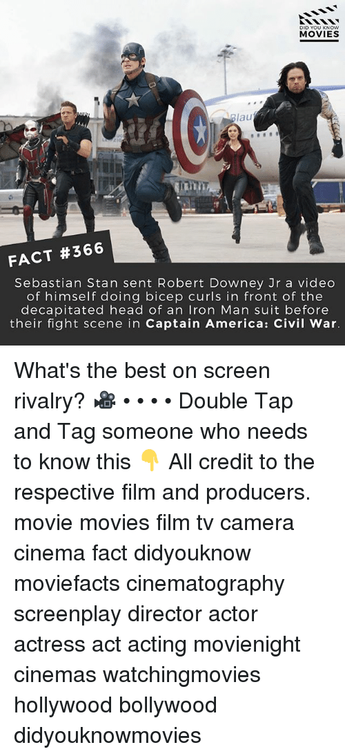 America, Captain America: Civil War, and Head: DID YOU KNOW  MOVIES  Blau  ain  FACT #366  Sebastian Stan sent Robert Downey Jr a video  of himself doing bicep curls in front of the  decapitated head of an Iron Man suit before  their fight scene in Captain America: Civil War. What's the best on screen rivalry? 🎥 • • • • Double Tap and Tag someone who needs to know this 👇 All credit to the respective film and producers. movie movies film tv camera cinema fact didyouknow moviefacts cinematography screenplay director actor actress act acting movienight cinemas watchingmovies hollywood bollywood didyouknowmovies