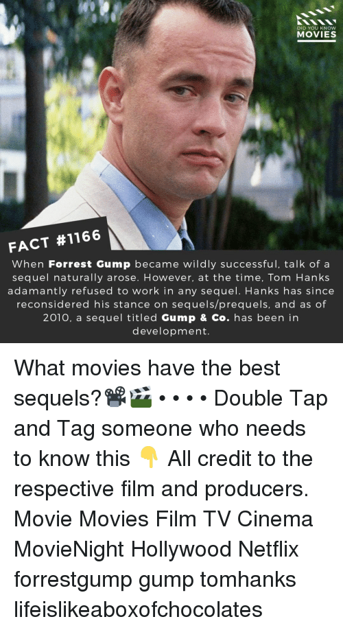 Forrest Gump, Memes, and Movies: DID YOU KNow  MOVIES  FACT #1166  When Forrest Gump became wildly successful, talk of a  sequel naturally arose. However, at the time, Tom Hanks  adamantly refused to work in any sequel. Hanks has since  reconsidered his stance on sequels/prequels, and as of  2010, a sequel titled Gump & Co. has been in  development. What movies have the best sequels?📽️🎬 • • • • Double Tap and Tag someone who needs to know this 👇 All credit to the respective film and producers. Movie Movies Film TV Cinema MovieNight Hollywood Netflix forrestgump gump tomhanks lifeislikeaboxofchocolates