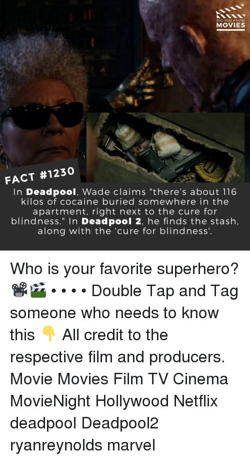 "Memes, Movies, and Netflix: DID YOU KNow  MOVIES  FACT #1230  In Deadpool, Wade claims ""there's about 116  kilos of cocaine buried somewhere in the  apartment, right next to the cure for  blindness."" In Deadpool 2, he finds the stash,  along with the 'cure for blindness'. Who is your favorite superhero?📽️🎬 • • • • Double Tap and Tag someone who needs to know this 👇 All credit to the respective film and producers. Movie Movies Film TV Cinema MovieNight Hollywood Netflix deadpool Deadpool2 ryanreynolds marvel"
