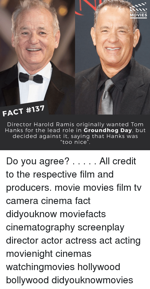 "Memes, Tom Hanks, and Groundhog Day: DID YOU KNOW  MOVIES  FACT #137  Director Harold Ramis originally wanted Tom  Hanks for the lead role in Groundhog Day, but  decided against it, saying that Hanks was  ""too nice"". Do you agree? . . . . . All credit to the respective film and producers. movie movies film tv camera cinema fact didyouknow moviefacts cinematography screenplay director actor actress act acting movienight cinemas watchingmovies hollywood bollywood didyouknowmovies"