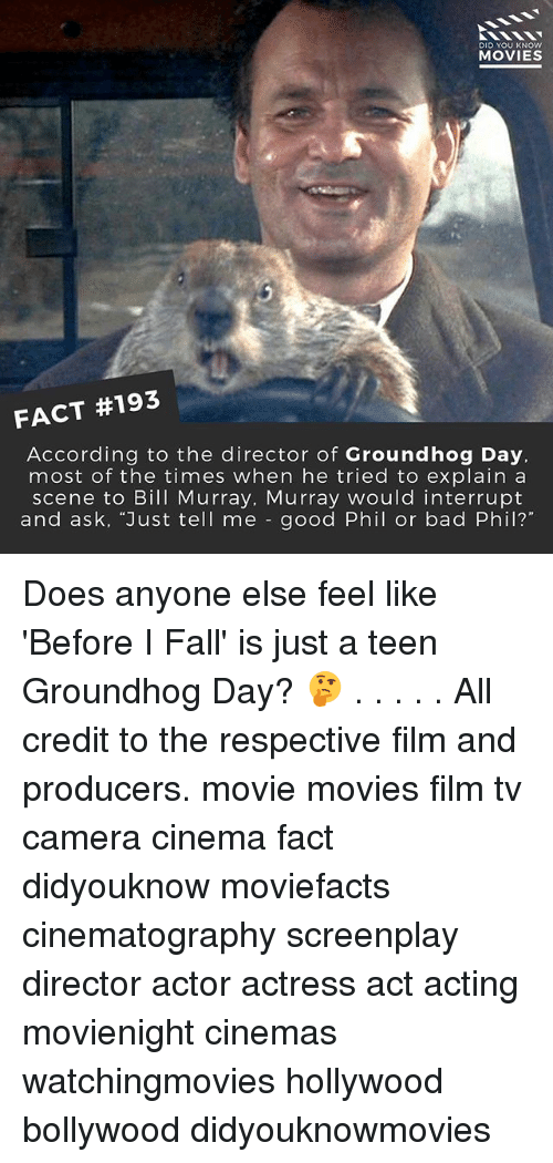 """Bad, Fall, and Memes: DID YOU KNOW  MOVIES  FACT #193  According to the director of Groundhog Day,  most of the times when he tried to explain a  scene to Bill Murray, Murray would interrupt  and ask, """"Just tell me good Phil or bad Phil? Does anyone else feel like 'Before I Fall' is just a teen Groundhog Day? 🤔 . . . . . All credit to the respective film and producers. movie movies film tv camera cinema fact didyouknow moviefacts cinematography screenplay director actor actress act acting movienight cinemas watchingmovies hollywood bollywood didyouknowmovies"""