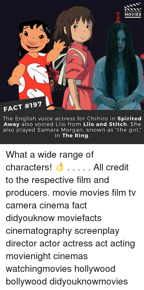 Did You Know Movies Fact 197 The English Voice Actress For Chihiro In Spirited Away Also Voiced Lilo From Lilo And Stitch She Also Played Samara Morgan Known As The Girl In