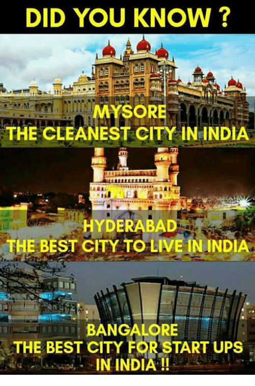 Memes, Ups, and Best: DID YOU KNOW?  MYSORE  THE CLEANEST CITY IN INDIA  HYDERABAD  THE BEST CITY TO LIVE ININDIA  BANGALORE  THE BEST CITY FOR START UPS  IN INDIA !!-