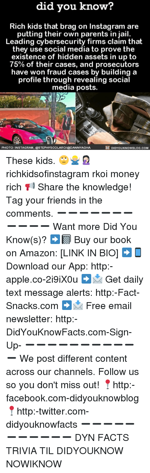 Amazon, Apple, and Facebook: did you know?  Rich kids that brag on Instagram are  putting their own parents in jail.  Leading cybersecurity firms claim that  they use social media to prove the  existence of hidden assets in up to  75% of their cases, and prosecutors  have won fraud cases by building a  profile through revealing social  media posts.  DIDYOUKNOWBLOG.coM  PHOTO: INSTAGRAM, @STEPHYSCOLAROI@DANNYAGHA These kids. 🙄🙅🏼‍♂️🤦🏻‍♀️ richkidsofinstagram rkoi money rich 📢 Share the knowledge! Tag your friends in the comments. ➖➖➖➖➖➖➖➖➖➖➖ Want more Did You Know(s)? ➡📓 Buy our book on Amazon: [LINK IN BIO] ➡📱 Download our App: http:-apple.co-2i9iX0u ➡📩 Get daily text message alerts: http:-Fact-Snacks.com ➡📩 Free email newsletter: http:-DidYouKnowFacts.com-Sign-Up- ➖➖➖➖➖➖➖➖➖➖➖ We post different content across our channels. Follow us so you don't miss out! 📍http:-facebook.com-didyouknowblog 📍http:-twitter.com-didyouknowfacts ➖➖➖➖➖➖➖➖➖➖➖ DYN FACTS TRIVIA TIL DIDYOUKNOW NOWIKNOW