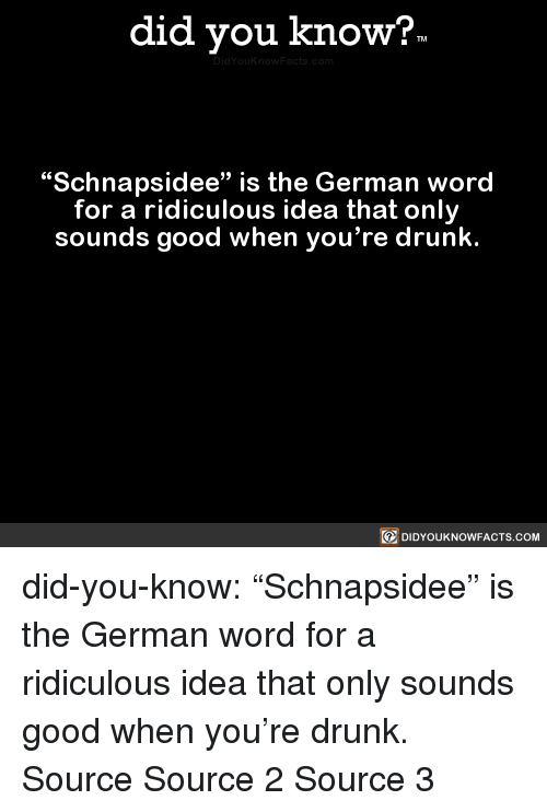 """Drunk, Target, and Tumblr: did you know?  """"Schnapsidee"""" is the German word  for a ridiculous idea that only  sounds good when you're drunk.  回DIDYOUKNOWFACTS.COM did-you-know:  """"Schnapsidee"""" is the German word   for a ridiculous idea that only   sounds good when you're drunk.    Source Source 2 Source 3"""