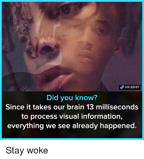 Memes, Brain, and Information: Did you know?  Since it takes our brain 13 milliseconds  to process visual information,  everything we see already happened. Stay woke