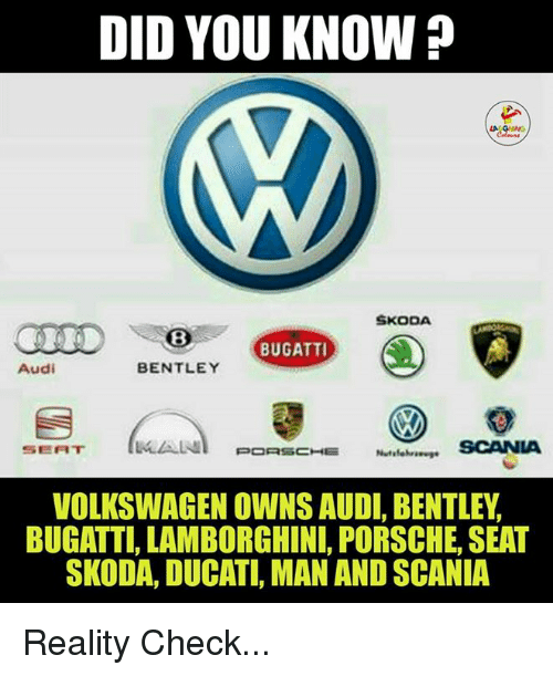 Who Owns Audi >> Did You Know Skoda Bugatti Audi Bentley Lalaln Scania Seat