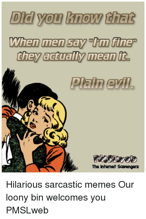Memes, Hilarious, and Evil: Did you know that  Plain evil  The Intemet Scavengrs <p>Hilarious sarcastic memes  Our loony bin welcomes you  PMSLweb </p>