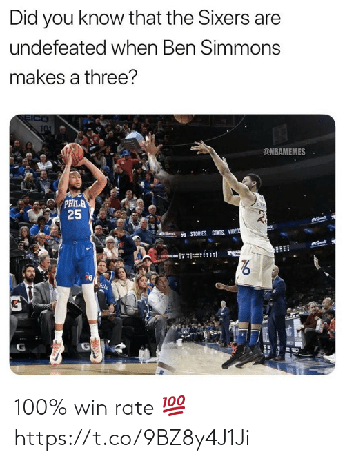 Sixers, Undefeated, and Three: Did you know that the Sixers are  undefeated when Ben Simmons  makes a three?  SEICO  101  @NBAMEMES  PHILA  25  * STORIES. STATS. VIDEDS  hila 100% win rate 💯 https://t.co/9BZ8y4J1Ji